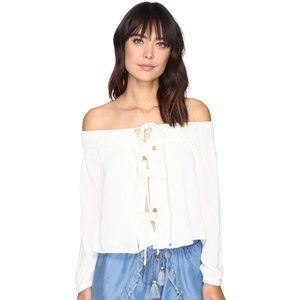 Lovers + Friends Josette Lace Up OTS Cropped Top